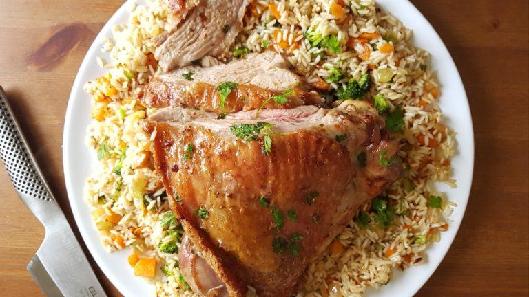 Haut de cuisse de dinde, riz sauté aux petits légumes