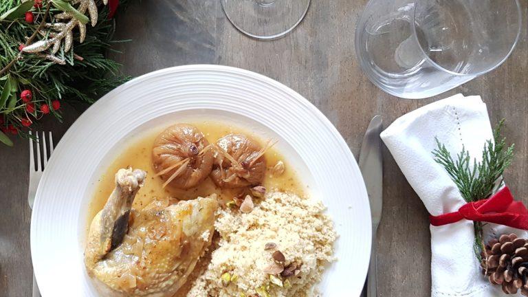 Pintade au Jurançon, figues Baglama et miel de romarin