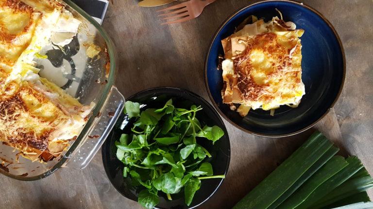 Lasagnes poireau-saumon