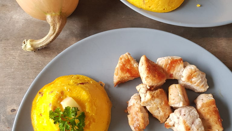 Flan de butternut, lardons et Comté