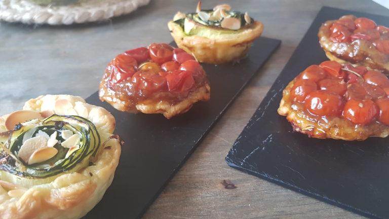 Tatins de tomates cerises et tartelettes aux courgettes