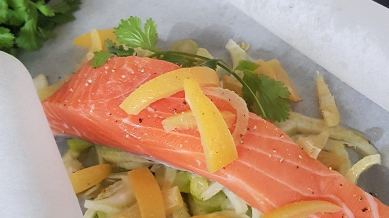 Papillote de saumon au fenouil et citron confit