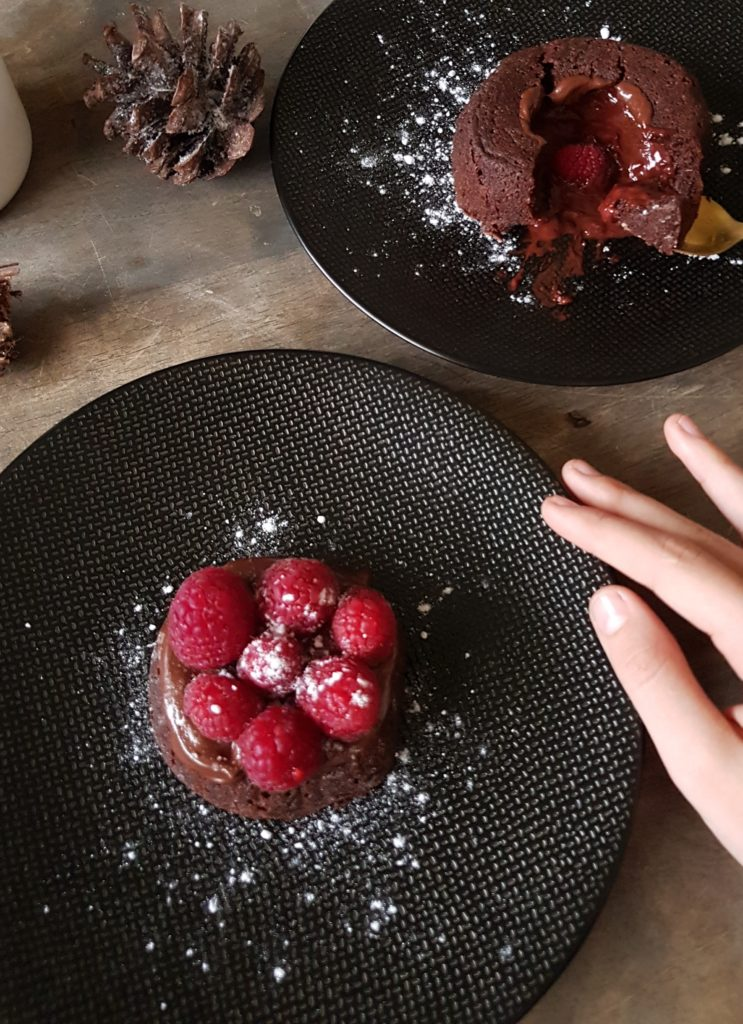 Coulant chocolat coeur framboise