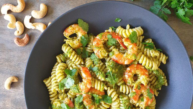 Pesto de coriandre et crevettes