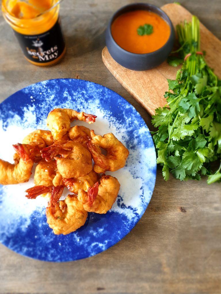beignets de crevette et coriandre, sauce carotte